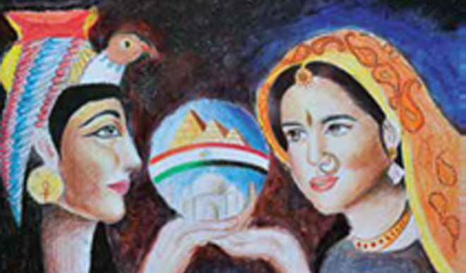 Egyptian Teens Sketch Indian Paintings