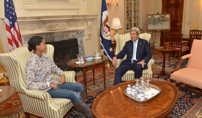 Kerry Meets 14-Year-Old Activist