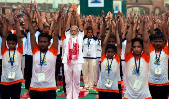 Modi, Yogi Perform Yoga Amid Rains In Lucknow